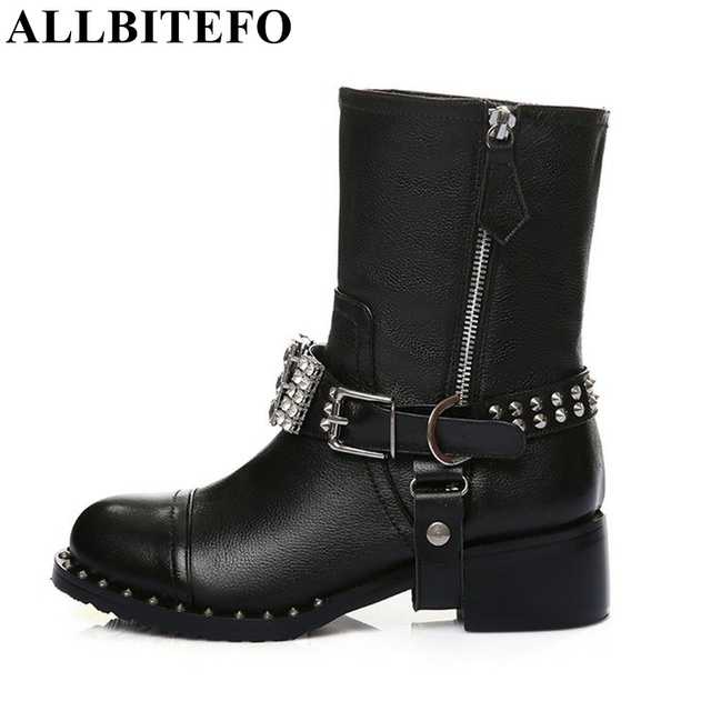 ALLBITEFO High quality genuine leather +PU rhinestone buckle rivets thick heel ankle boots 2017 fashion women boots martin boots