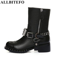 High Quality Genuine Leather Rhinestone Buckle Rivets Thick Heel Ankle Boots 2017 Fashion Zip Short Women