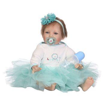 22inch Silicon Lifelike Smiling Doll White Light Blue Mesh Dress Flower Headband Early Childhood Kids Baby Toys