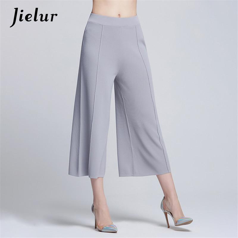2018 Autumn Fashion Solid Color Women's   Pants   Casual Simple Capri Ladies Knitted   Wide     Leg     Pants   Loose Ankle-Length   Pants   Female