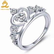 Сердце, сердце Корона Кольца для Для женщин 925 стерлингов Серебряные ювелирные изделия с Природный Топаз Обручение Юбилей Свадьба Серебряное кольцо