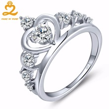 Heart By Heart Crown Rings for Women 925 Sterling Silver Jewelry with Natural Topaz Engagement Anniversary Wedding Silver Ring