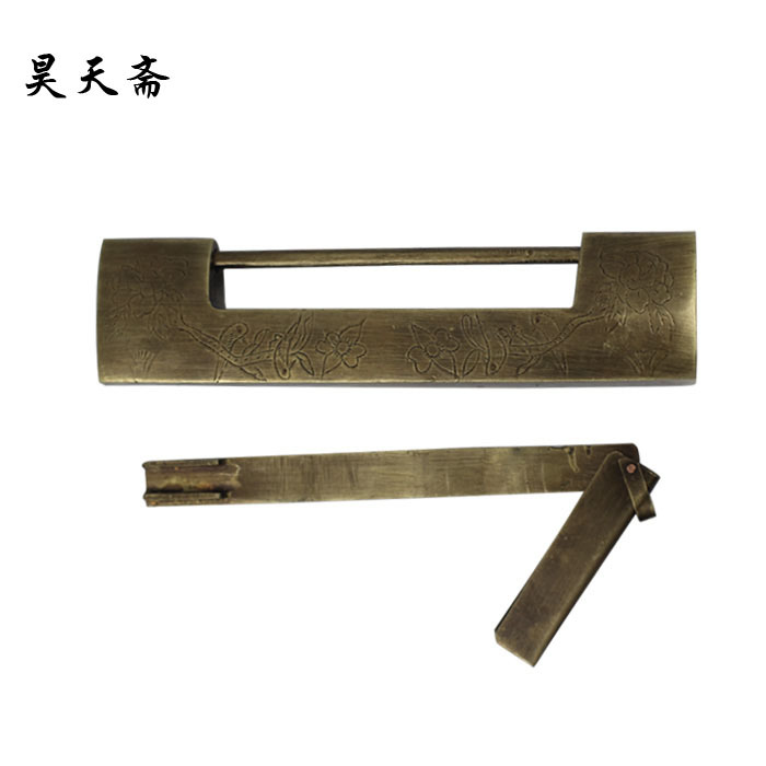 [Haotian vegetarian] antique copper lock / Ming and Qing antique Chinese decoration brass fittings HTH-010 brass material entrance lock antique brass antique copper coffe finish