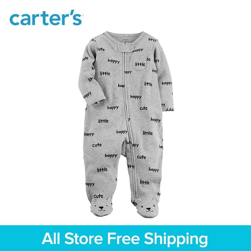 Mignon slogans zip-avant doux coton ours footies une-pièce de Carter bébé garçon vêtements automne hiver 115G505