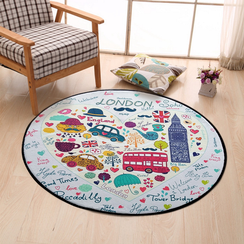 London Bus Car Printed Kids Round Carpet Cartoon Area Rug For Living Room Children Room Play Crawling Floor Mat Christmas Rugs