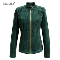 BERRY BOOM 2016 Women S Bomber Jacket 100 Genuine Leather Zipper Suede Moto Jacket Spring Jacket