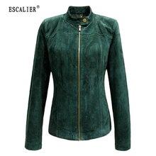 ЭСКАЛИЕР 2017 Зимние женщин Подлинная Кожаные Куртки Вскользь Плюс Размер Зеленый Длинным Рукавом Женщины Основные Пальто XS-5XL(China (Mainland))