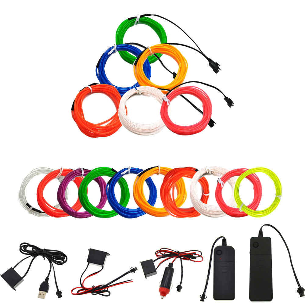 3V/5V/12V Neon Light Dance Party Decor car Lights Neon LED lamp Flexible 2.3MM EL Wire Rope Tube LED Strip With inverter new arrival colorful neon led bulbs melbourne shuffle dance costume night lamp el wire bright ghost step suit for concert party