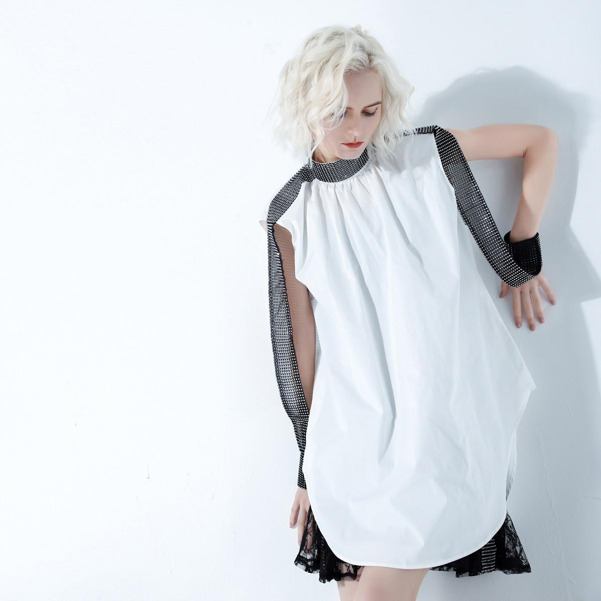 19S/S Crew Neck Unique Design Loose Dress Women Diamond Stripe Cool Dress Sleeveless Black White 1094