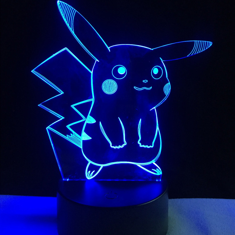 HOT SALE Japanese Cartoon Figure 3D LED USB Lamp Pokemon Go Game Kawaii Pikachu Thunder Animal Colorful Gradient Night Light colorful waterdrop cartoon ombre led night light