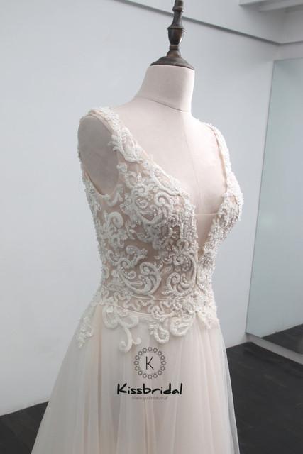 trouwjurk vestido de casamento New Appliqued Tulle Wedding Dress Boho V-neck Zipper Back Bridal Gown Sleeveless