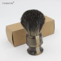 Style 1 Black Pure Badger Shaving Brush Faux Ebony Black Color Resin Handle Knot 21mm