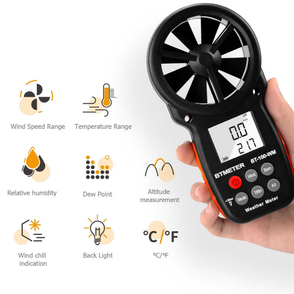 BT-100-WM  Digital Anemometer Barometer Handheld, for Wind Speed Temperature Wind Chill Tester w/HumidityBT-100-WM  Digital Anemometer Barometer Handheld, for Wind Speed Temperature Wind Chill Tester w/Humidity