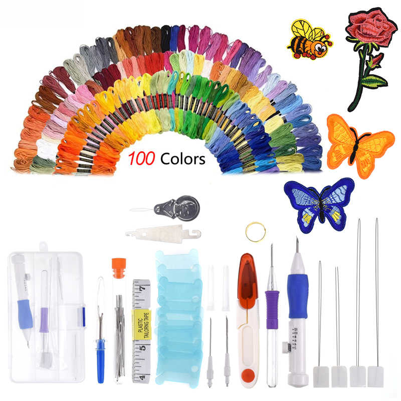 138Pcs/set Magic Patterns Punch Needle Kit Craft Embroidery Pen Set, Threads for Sewing Knitting DIY Sewing Tools Threaders