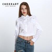 Cheerart Cropped Shirt Women Autumn White Long Sleeve Otton Rivet Ruffle Blouse Button Down Shirt Ladies