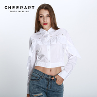 Cheerart Cropped Shirt Women Autumn White Long Sleeve Otton Rivet Ruffle Blouse Button Down Shirt Ladies