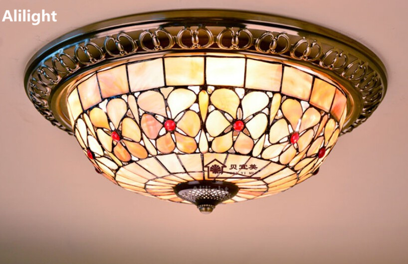 Tiffany Flower Ceiling Light Pearl Flower Ceiling Lamp