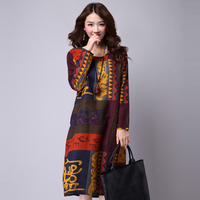Winter And Spring Dress Loose Plus Size Ethnic Dress Print Casual Long Sleeve Women Dress Cotton