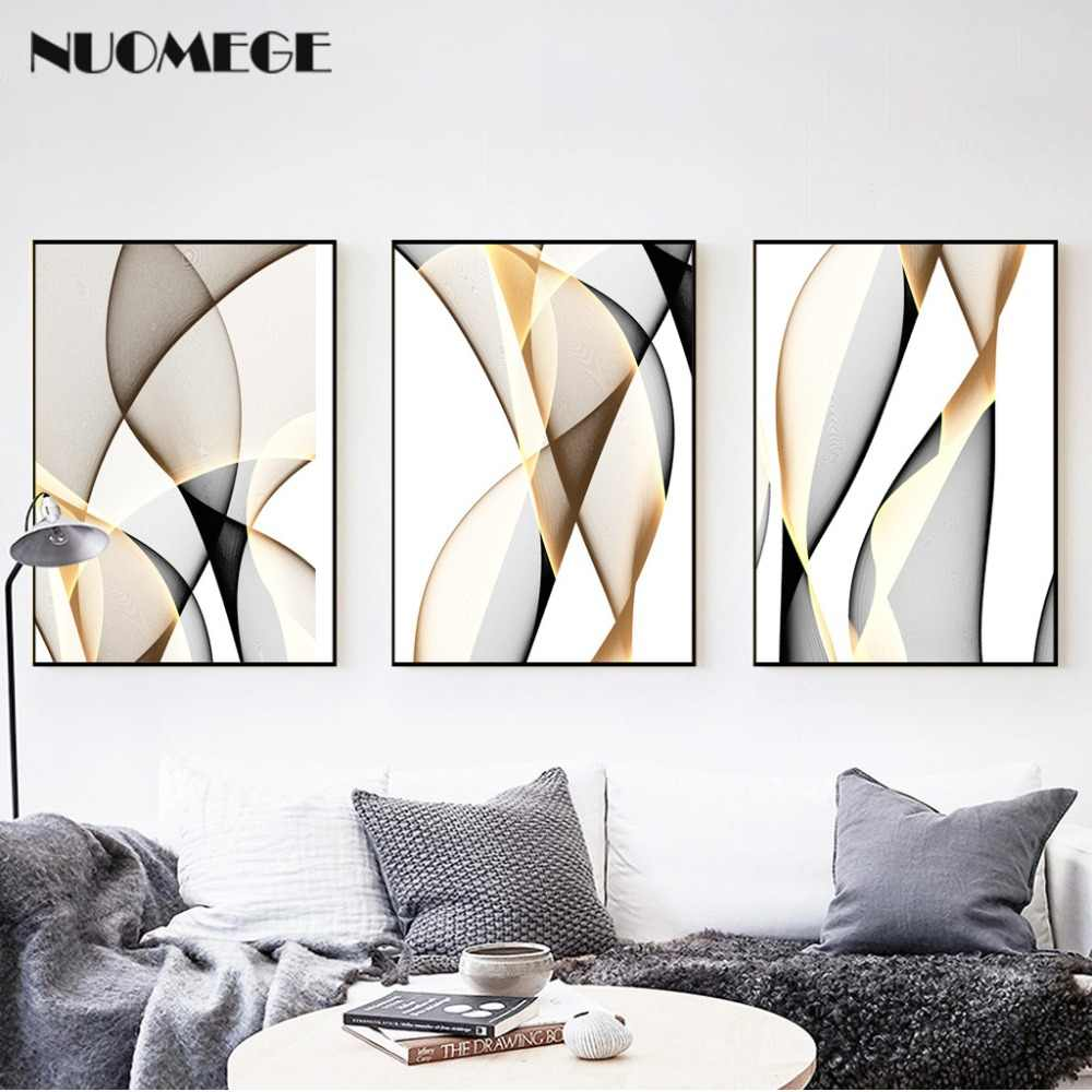 NUOMEGE Abstract Modern Creative Canvas Painting Ink Line Posters Prints Nordic Wall Art Pictures for Living Room Home Decor