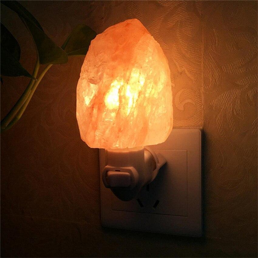 15W EU US UK AU Plug Rotatable Cylinder Himalayan Salt Lamp Air Purifier Crystal Salt Rock Bedside Night Light For Kids Bedroom
