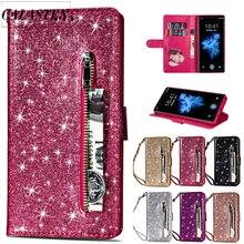 Funda brillante con purpurina para iPhone 6 6s Plus 7 8 Funda de cuero tipo billetera de cuero con tapa para iPhone 11 Pro Max XR XS Capa