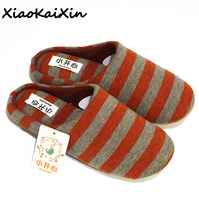 XiaoKaiXin Adult Winter Home Couples Slippers Women and Men Striped Cotton Fabric Indoor Antislip Slippers House chausson femme xiaokaixin winter home couples slippers large size women