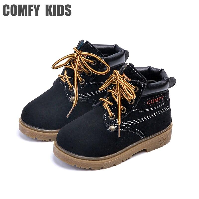 Удобные детские кроссовки Ботинки теплые модные повседневные кроссовки для мальчиков и девочек кожаные ботинки обувь Детская осенние сапо... ...