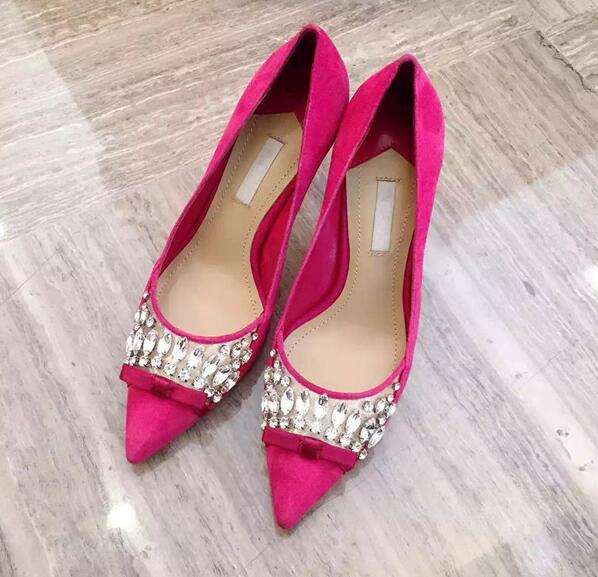 ФОТО Hot selling pointed toe woman shoes 2017 high quality suede pumps sexy crystal embellished thin heels shoes butterfly-knot shoe