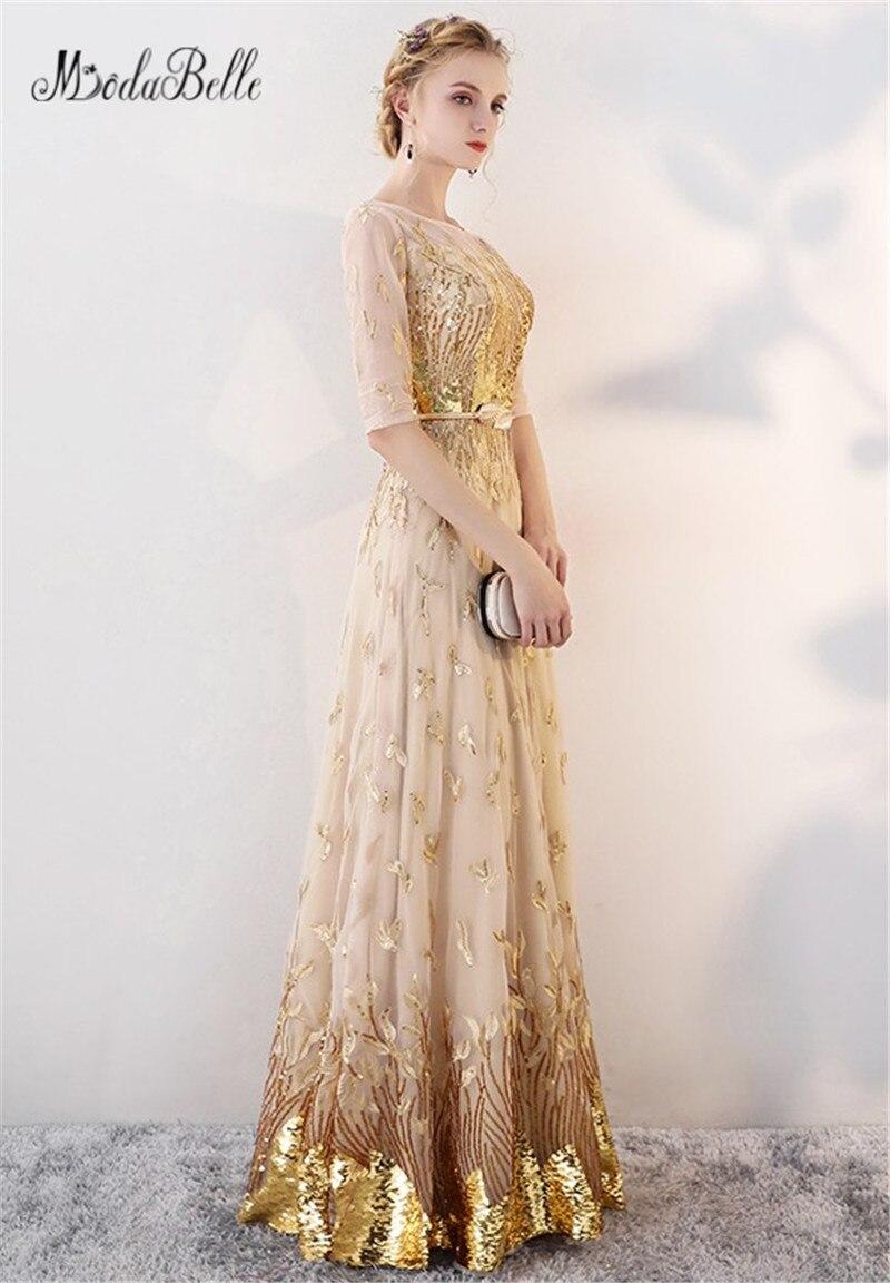 Modabelle or Sequin robe de bal avec manches modeste 2018 étage longueur robes de célébrité élégant robes robe de soirée formelle - 3