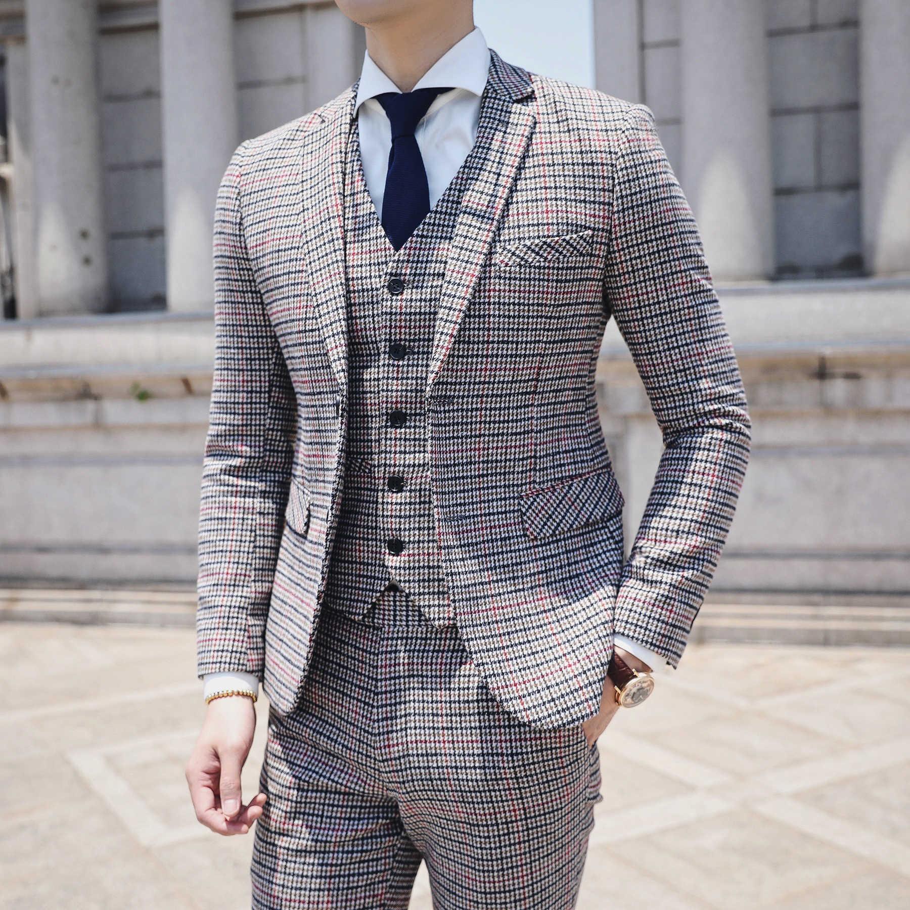 Heren Kostuums Smoking Uomo Business Office Suit Autumn Traje Novio 3 Pieces Plaid Check Men Suit Vintage Retro Men Tuxedo Suit