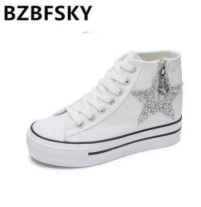 Women Casual Shoes 2017 Spring Canvas Women Shoes White Black Zippers & Platform women Fashion Shoes High top Flat With Shoes
