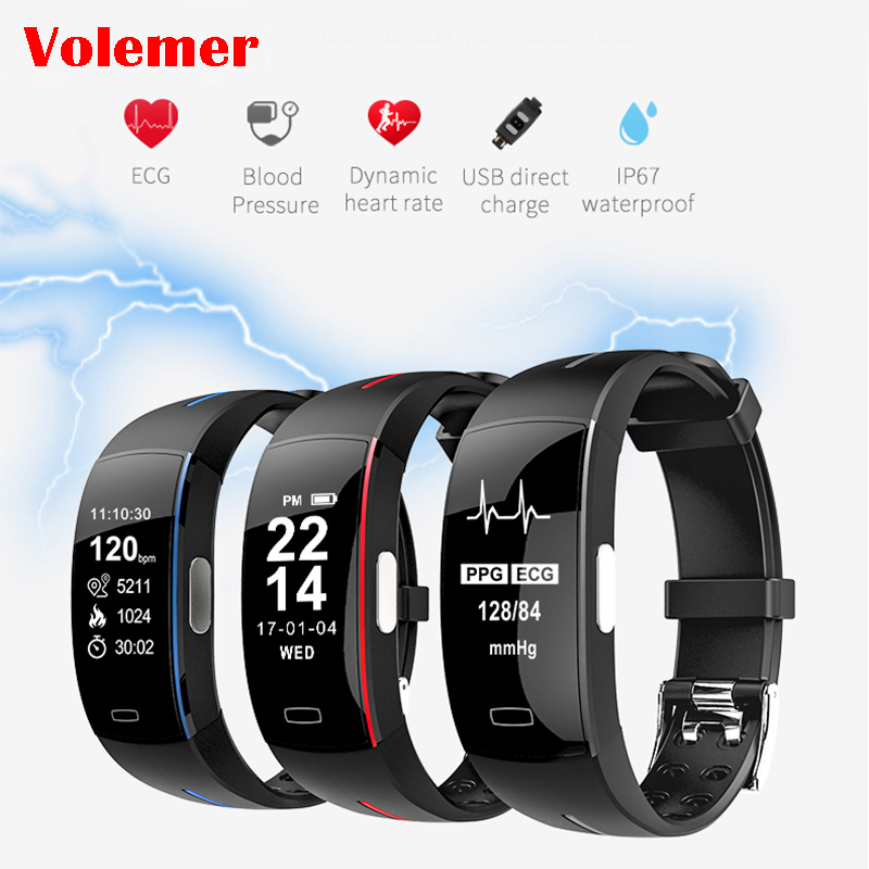 Volemer P3 Smart Band ECG Monitor Blood Pressure Watch Real-time Heart Rate Sport Fitness Tracker Smart Bracelet for IOS Android 5piece f07 waterproof smart bracelet heart rate monitor blood pressure fitness tracker smart band sport watch for ios android