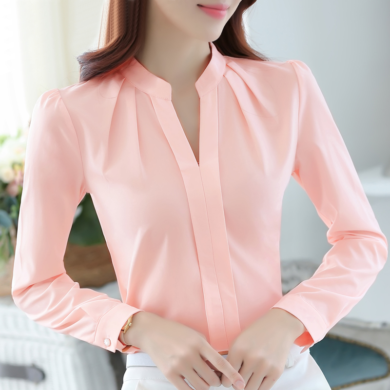 e908b9c32 € 7.76 16% de DESCUENTO|Blusa de gasa mujer ropa de trabajo camisa de  oficina delgada de manga larga camisa blanca de color sólido mujeres Tops  ...