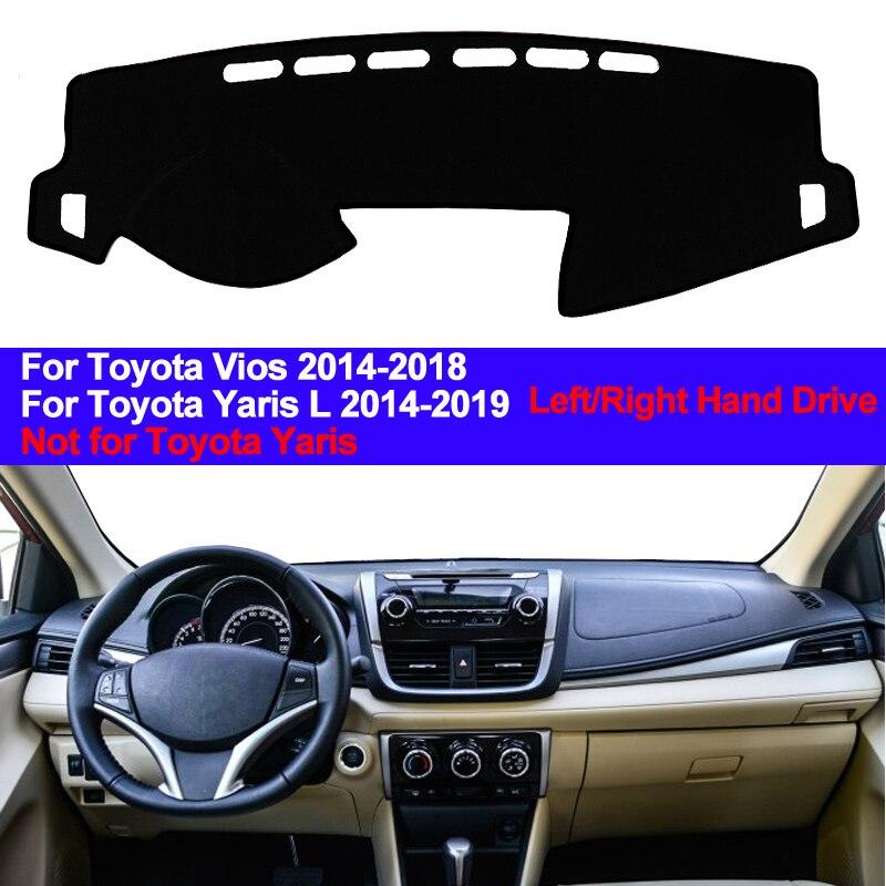 Car Inner Dashboard Cover Dash Mat Cape Carpet Dashmat Pad 2 Layers For Toyota Yaris L 2014 -2019 Vios 2014 2015 2016 2017 2018