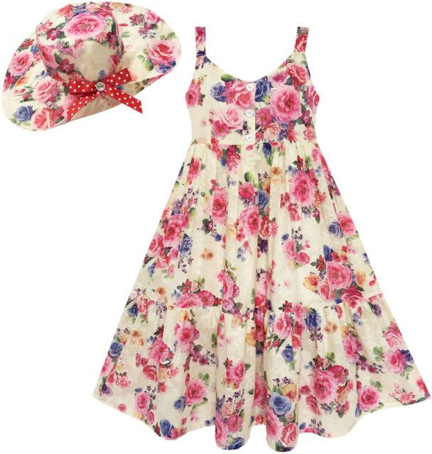 Sunny Fashion Vestido niña Completo Largo Flor Impresión Con Sombrero Flor Rosa