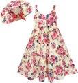 Sunny fashion girls dress flor de corpo inteiro com chapéu da flor de rosa 2017 vestidos de festa de casamento da princesa verão roupas tamanho 7-14
