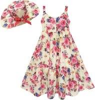 Girls Dress Full Length Flower Print With Hat Flower Pink 7 14