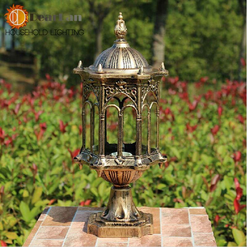 ФОТО Waterproof Outdoor Vintage Wall Light Europe Type style Copper Outside Lamp For Vintage Decoration