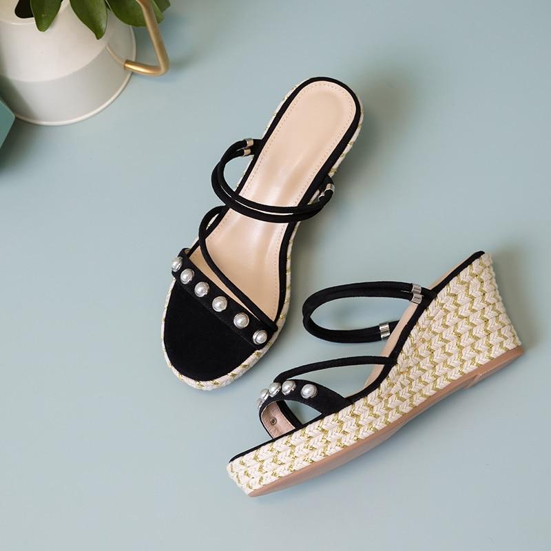 Chaussures forme Hauts Pantoufles Black green De Femmes Talons Des Pour Confortable beige L'été Mode Habillées Élégante Plate Perles Sandales nzn7xwq0Rd