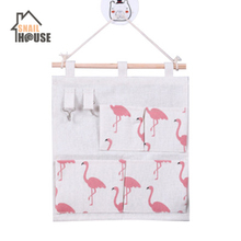 4 Pockets Cotton Linen Wall Hanging Storage Bags Door Pouch Bedroom Home Office Organizer with storage bag
