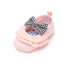 Cotton Fabric Newborn Baby Shoes Gingham Butterfly-knot For Toddlers Girls Casual Shoes Autumn First Walkers Wholesale knot front gingham shorts