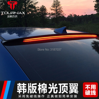 for hyundai elantra 2016 2018 spoiler LED ABS Plastic Unpainted Color Rear Roof Spoiler Wing Trunk Lip Boot Cover Car Styling