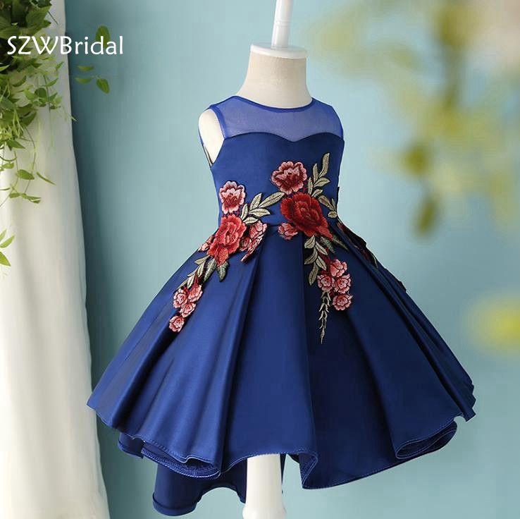 New Arrival Cap sleeve Royal blue   flower     girl     dresses   2019 Embroidery Beaded Vestidos de primera comunion   Flower     girl     dress