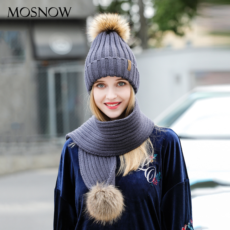 Winter Hats And Scarf Set For Women  Fashion 2019 High Quality  New Knitted Warm Fur Pompom Beanies Scarves Bonnet #MZ700