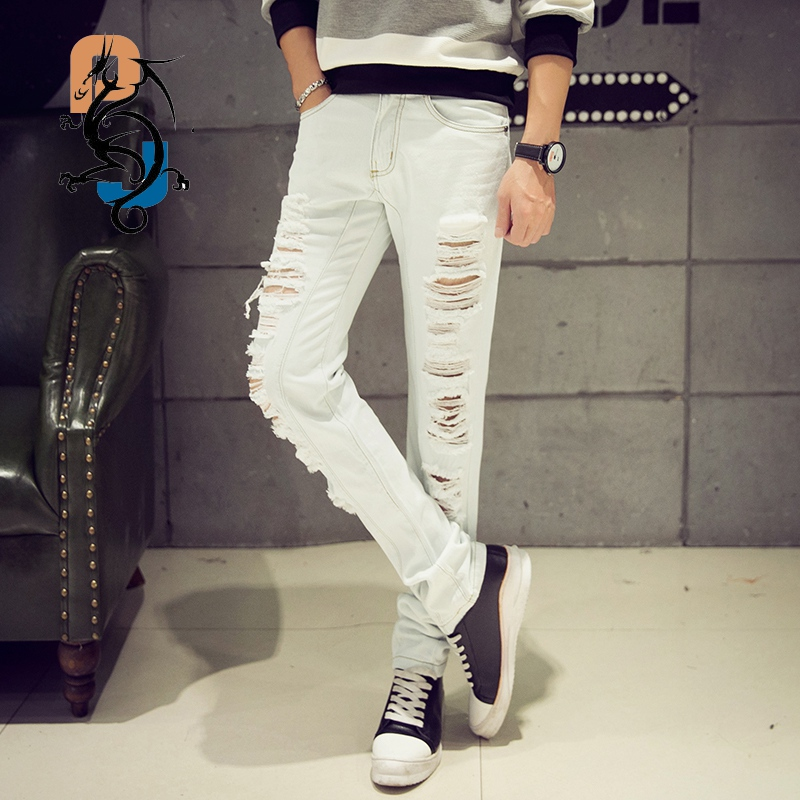 2016 Spring New Arrival White Ripped Slim Fit Jeans/Punk Style Biker Jeans For Men/High Quality Denim Joggers Large Plus Size 42  black navy m xxl quality 2017 spring new arrival ripped jeans for men fashion brand men jeans slim fit jeans men jx01