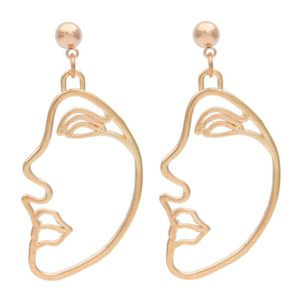 Personality Fashion Design Women Drop earrings Gold Silver Facial Expression Art Dangle Earrings Hallow Man Face Ear Drop Artist