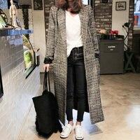 2018 Women plaid long sleeve woollen overcoat loose outwear female winter autumn trench coats plus size long coat