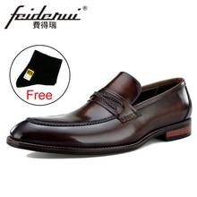 купить New Luxury Genuine Leather Men's Handmade Wedding Loafers Round Toe Slip on Man Party Height Increasing Male Casual Shoes BQL103 по цене 5334.25 рублей