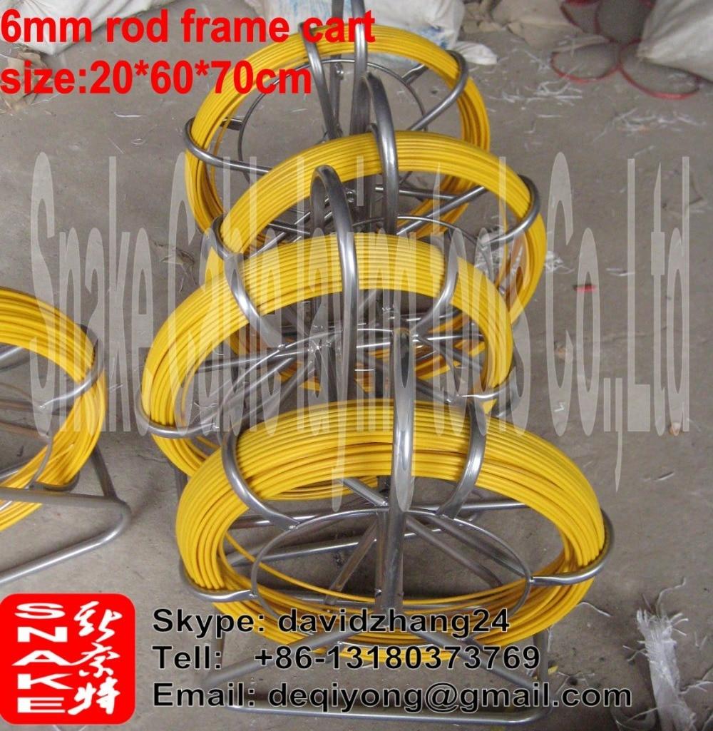 4.5 mm stiklo pluošto stumiamas strypas 100 metrų su rėmo vežimėliu ortakio strypo gyvatės strypo kanalo strypeliu