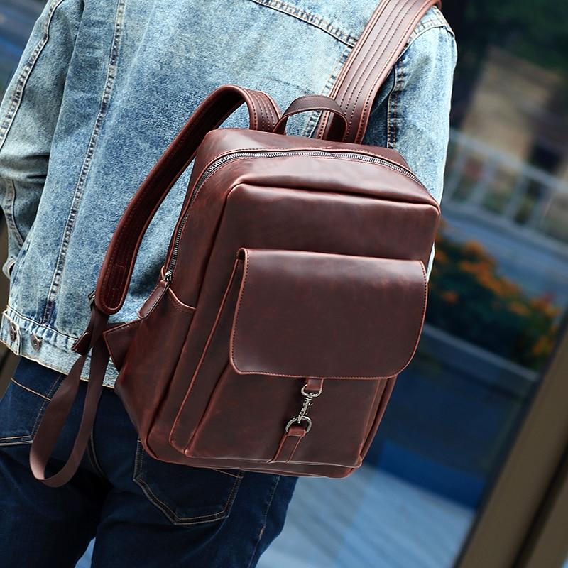 Korean Fashion style Crazy Horse PU leather men backpacks Casual Preppy style men's travel bag Vintage Boy school backpack bag